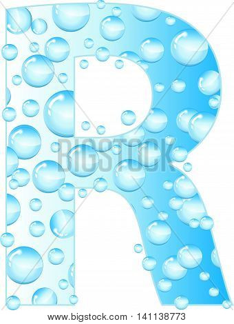 Letters soap bubbles water droplets. R Letter from the water bubbles. Aqua letter. Vector illustration.
