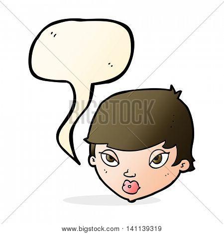 cartoon unimpressed woman with speech bubble