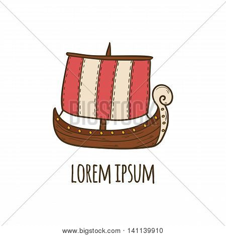 Vector cartoon hand drawn illustration with medieval ancient viking ship. Cartoon scandinavian culture concept. Viking icon. Vector nordic nautical transport. Illustration with viking ship