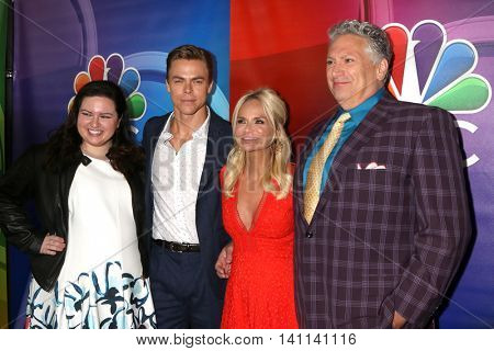 LOS ANGELES - AUG 2:  Maddie Baillio, Derek Hough, Kristin Chenoweth, Harvey Fierstein at the NBCUniversal TCA Summer 2016 Press Tour at the Beverly Hilton Hotel on August 2, 2016 in Beverly Hills, CA