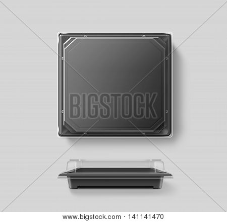 Big blank plastic disposable food container mockup transparent lid isolated clipping path 3d illustration. Sushi empty to go bento delivery box mock up. Meal lunch take away out clear tray template