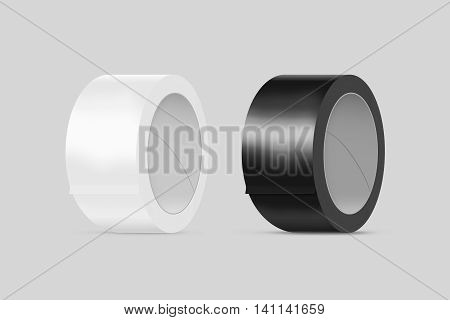 Blank white and black duct adhesive tape mockup clipping path 3d illustration. Sticky scotch roll design mock up. Clear glue tape template. Packing insulating tape display.