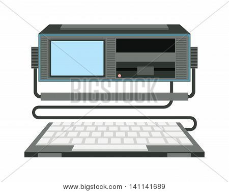 Old omputer technology vector isolated. Telecommunication equipment old vintage pc monitor frame computer modern office network. Old computer device electronic equipment space.