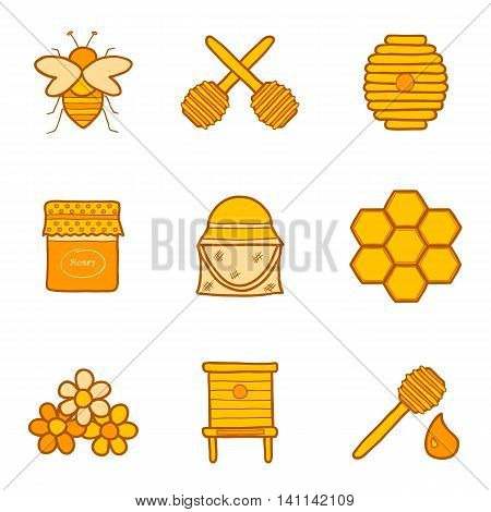 Vector cartoon hand drawn illustration with beekeeping objects: bee hive comb honey spoon. Bee icon for hand drawn design. Natural eco organic honey icons. Vector beekeeping technology