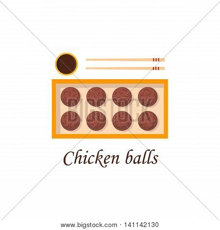 Vector illustration with cartoon traditional chinese chicken balls on plate with chopsticks. Vector chinese cuisine concept. Cartoon illustration fo chinese restaurant cafe menu. Vector food icon
