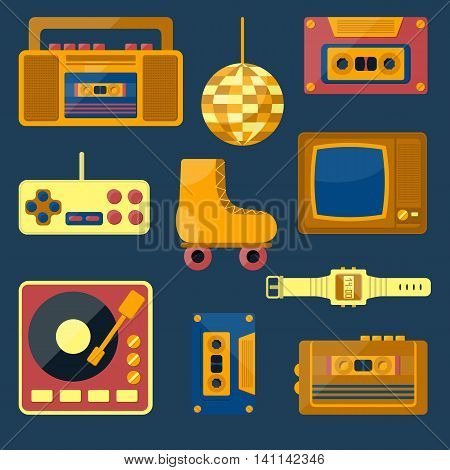 Vector illustration with cartoon retro 1980 60s 70s 80s 90s icon. Old retro entertainment objects: rollers tv recorder cassette. Vector icons for retro 1980 60s design. Cartoon icons