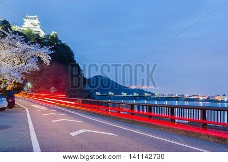 Light Trail On Road In Night At Inuyama Castle