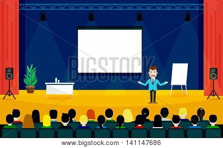 Public Speaking concept. Business Training vector illustration. Speaker in a suit and with microphone standing near flipchart. People sitting at the conference in flat style.