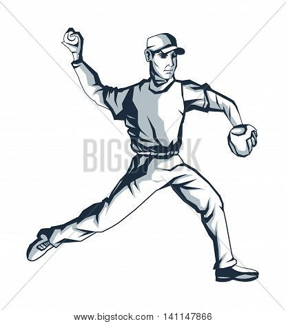 flat design baseball player icon vector illustration