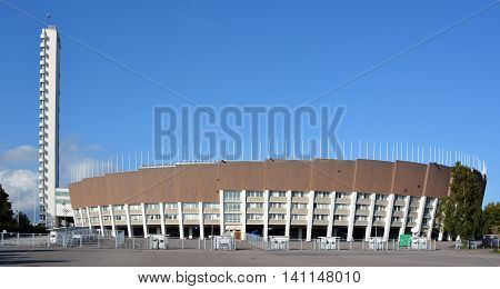HELSINKI FINLAND SEPTEMBER 25 2015: Olympiastadion (Olimpic stadium) and tower, located in the Toolo district the largest stadium in the country centre of activities in the 1952 Summer Olympics