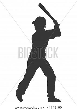 flat design baseball player icon silhouette vector illustration