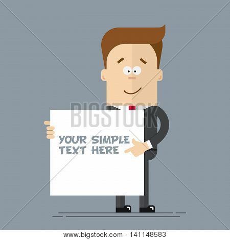 A businessman or manager shows at the poster where you can place your text. Cartoon character in a business suit. Happy man in a flat style