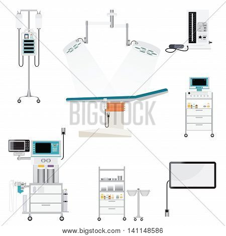 Medical hospital with medical equipment blood pressure; heart monitor; mechanical ventilator; infusion pump; infusion bag medical health care vector illustration.
