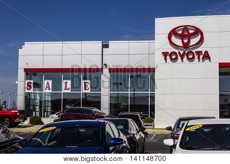 Muncie IN - Circa July 2016: A Local Toyota Car and SUV Dealership. Toyota is a Japanese Automaker Headquartered in Toyota Aichi Japan II