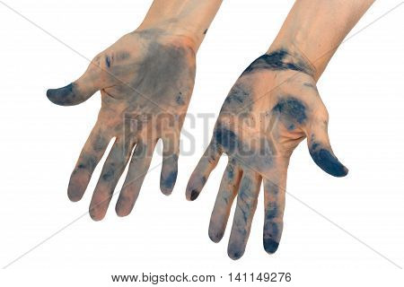 Woman's hands soiled by in ink isolated on white background