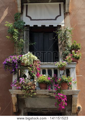 Pretty balcony with flowers in Venice, Italy