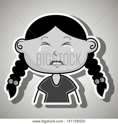 crying cartoon girl with frontal vier over a white background, vector illustration