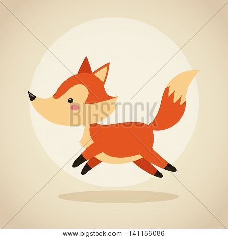 Woodland animal concept represented by cute fox cartoon icon. Colorfull and flat illustration.