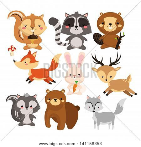 Woodland animal concept represented by cute squirrel raccoon beaver fox rabbit reindeeer skunk bear wolf cartoon icon. Colorfull and flat illustration.