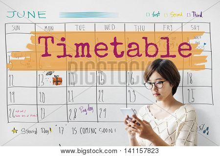 Timetable Agenda Planner Reminder Calendar To Do Concept