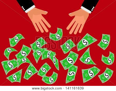Dollar Cash Giveaway Blowout - Hands drop or throw dollars cash or money in the air for people to catch