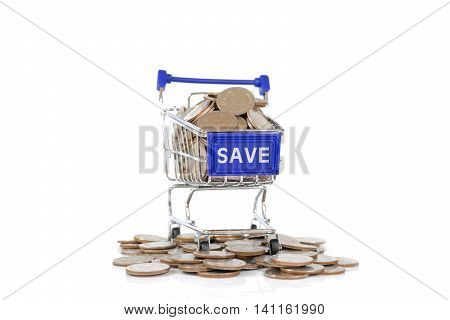 Save concept with shopping cart with full of coin.