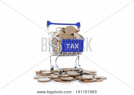 Tax concept with shopping cart with full of coin.