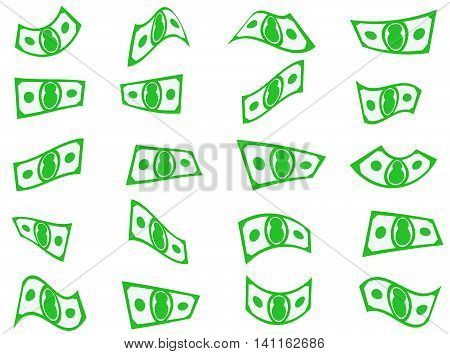 Falling paper money, bills or currency set shapes vector