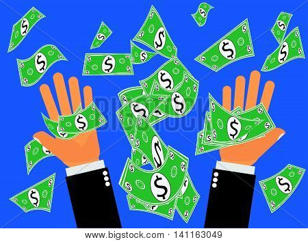 Catching or pitching Dollars or Money up. Hands catching falling dollars from the sky