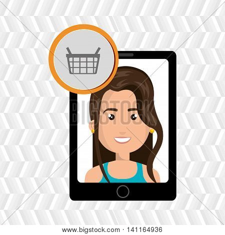 black smartphone with a cartoon woman in the screen wearing a bue shirt and a shopping basket above over a white background vector illustration