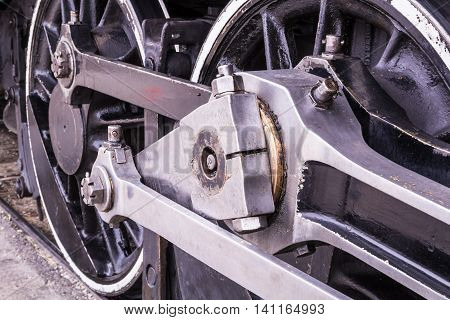 An old steam train wheels closeup image