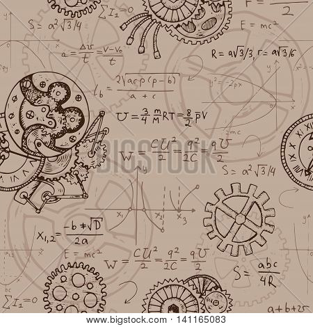 Seamless background with mechanical parts of clocks and retro machines, graphics and math formulas. Hand drawn repeated illustration in steampunk style