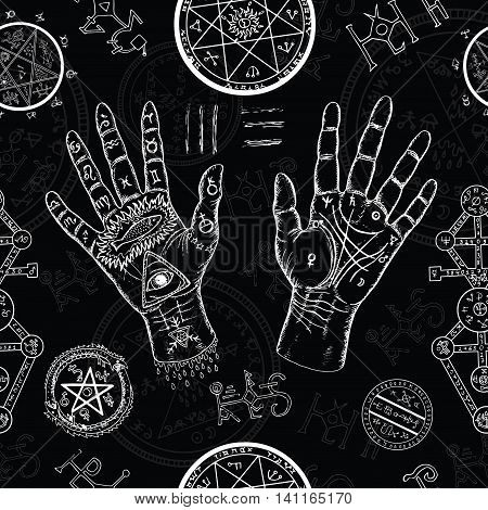 Chiromancy seamless background with human hands, pentagram and mystic symbols on black. Hand drawn repeated illustration with life lines on palms