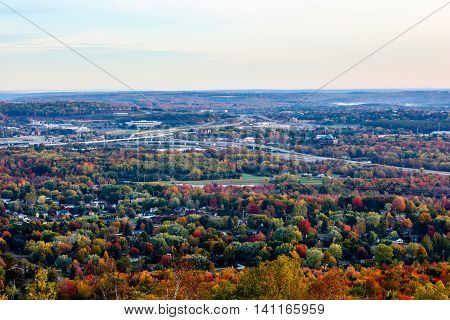 Over looking colorful fall trees in Wausau, Wisconsin.