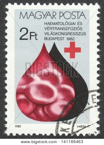 MOSCOW RUSSIA - CIRCA APRIL 2016: a post stamp printed in HUNGARY dedicated to World Congress for Hematology and Blood Transfusion circa 1982