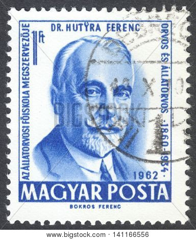MOSCOW RUSSIA - CIRCA MAY 2016: a post stamp printed in HUNGARY shows a portrait of Ferenc Hutyra dedicated to the 75th Anniversary of the Veterinary Science in Hungary circa 1962