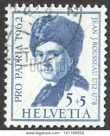 MOSCOW RUSSIA - CIRCA MAY 2016: a post stamp printed in SWITZERLAND shows a portrait of Jean Jacques Rousseau the series