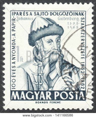 MOSCOW RUSSIA - CIRCA MAY 2016: a post stamp printed in HUNGARY shows a portrait of Johannes Gutenberg the series