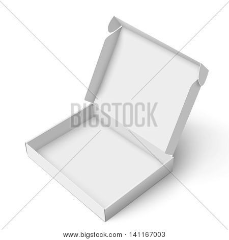 Blank slim cardboard box template with open lid isolated on white background. Package collection. Vector Illustration.