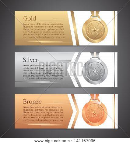 Set of banners,Gold medal, Silver medal, Bronze medal.