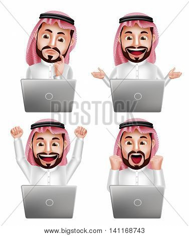 Saudi arab man vector character set in front of laptop with different actions and facial expressions isolated in white background. Vector illustration.