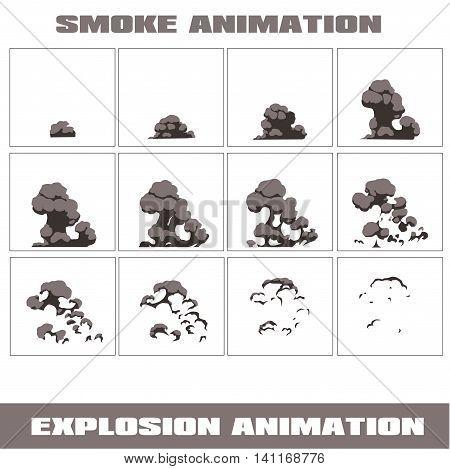 Explosion, cartoon explosion animation frames for game. Sprite sheet on dark background, Lightning animation. Game animation of lightning. Game animation. Smoke animation.