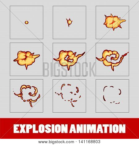 Explosion, cartoon explosion animation frames for game. Sprite sheet on dark background, Lightning animation. Game animation of lightning. Game animation. Smoke animation.
