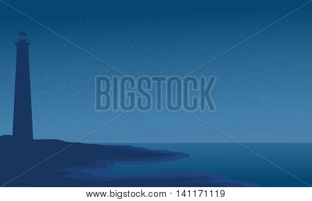 Silhouette of lighthouse in beach vector illustration