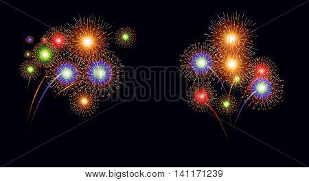 beauty colorful of Firework on black background