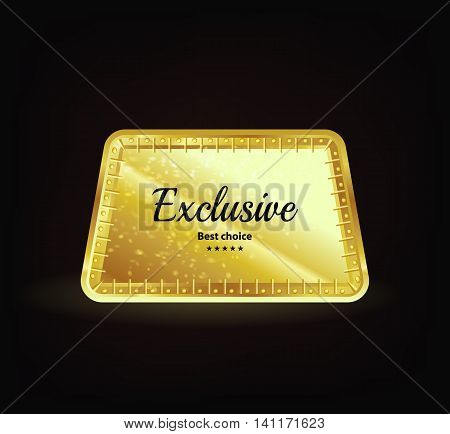 Exclusive gold label. Reliability and comfort. Text on gold. Vector vintage label with text on black background