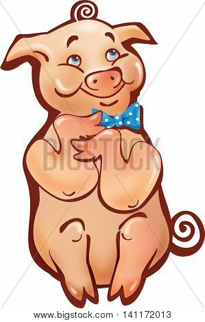 sitting pink happy smiling cartoon pig simple