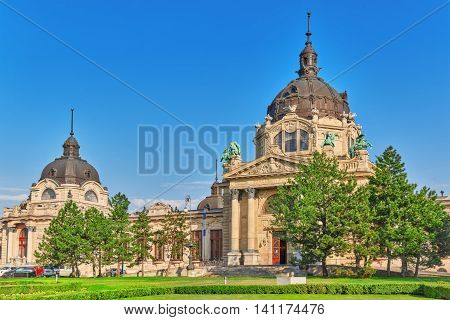 Main Entrance Of  Szechenyi Baths, Hungarian Thermal Bath Complex And Spa Treatments. Budapest.