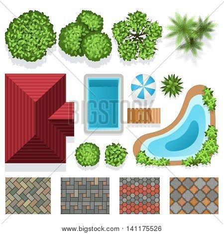 Landscape garden design vector elements for structure plan. Architectural landscape design illustration with green plants, house and swimming pool top view