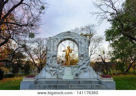 Johan Strauss statue in Stadtpark Vienna Austria on 13 November 2015
